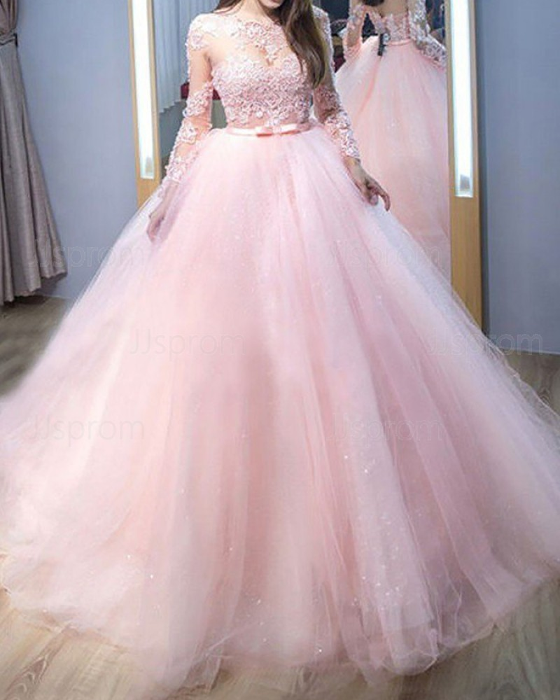 Pink Lace AppliquedJewel Neck  Tulle Ball Gown Prom Dress with Long Sleeves PM1206