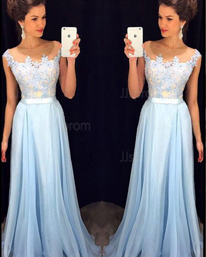 Cyan Appliqued Bodice Sheer Neck Tulle Prom Dress PM1233