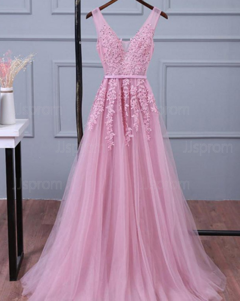 Pink Long V-neck Lace Appliqued Tulle Prom Dress PM1269