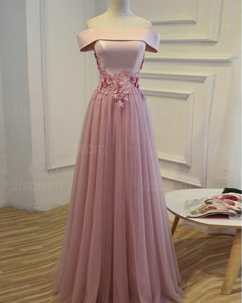 Lavender Long Tulle Off the Shoulder Prom Dress with Handmade Flowers PM1272