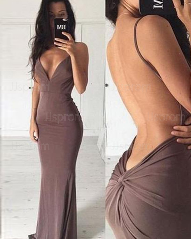 Deep Long V-neck Brown Satin Mermaid Formal Dress with Open Back PM1339