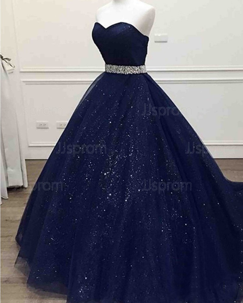 Long Navy Blue Sparkle Sweetheart Tulle Prom Dress with Beading Belt PM1346