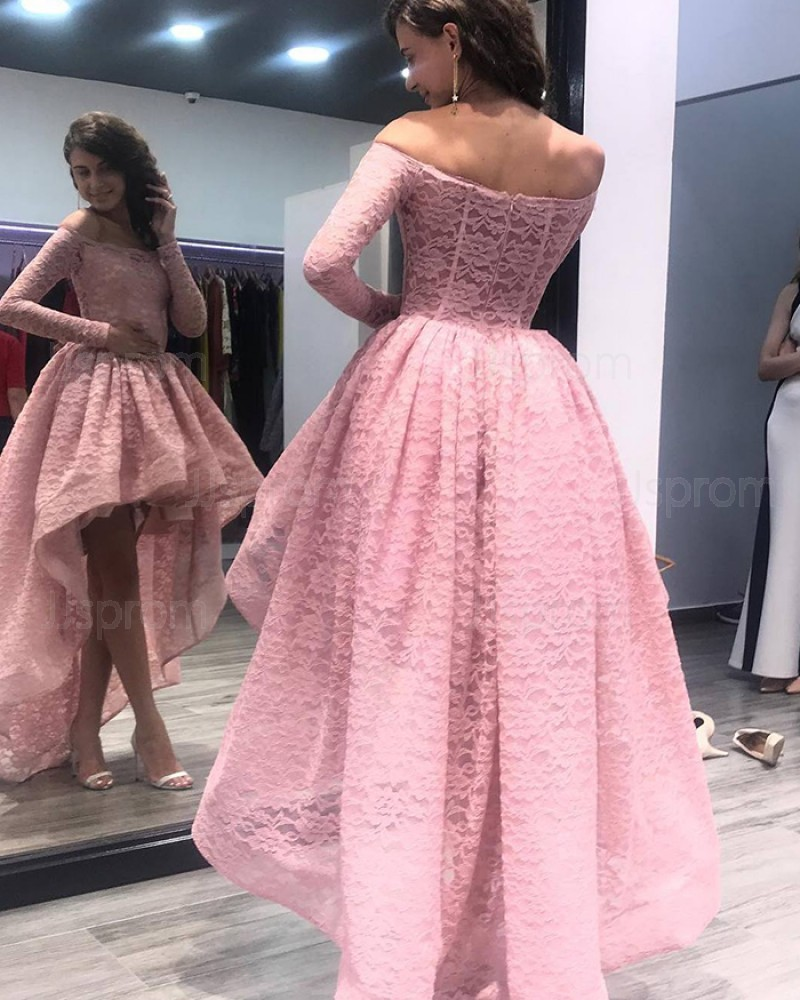 High Low Pink Lace Off the Shoulder Prom Dress with Long Sleeves PM1356