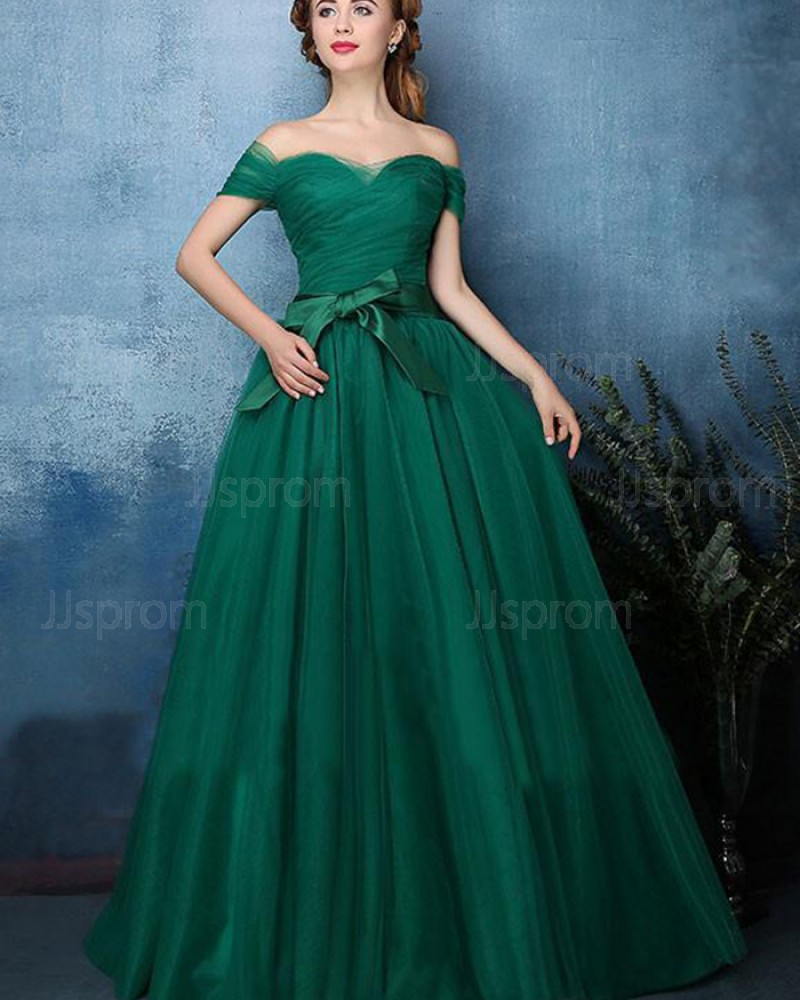 Green Ruched Off the Shoulder Tulle Long Prom Dress PM1393