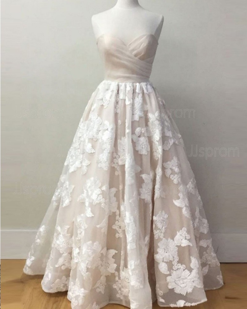 Light Pink Lace Sweetheart Appliqued Long Prom Dress PM1397