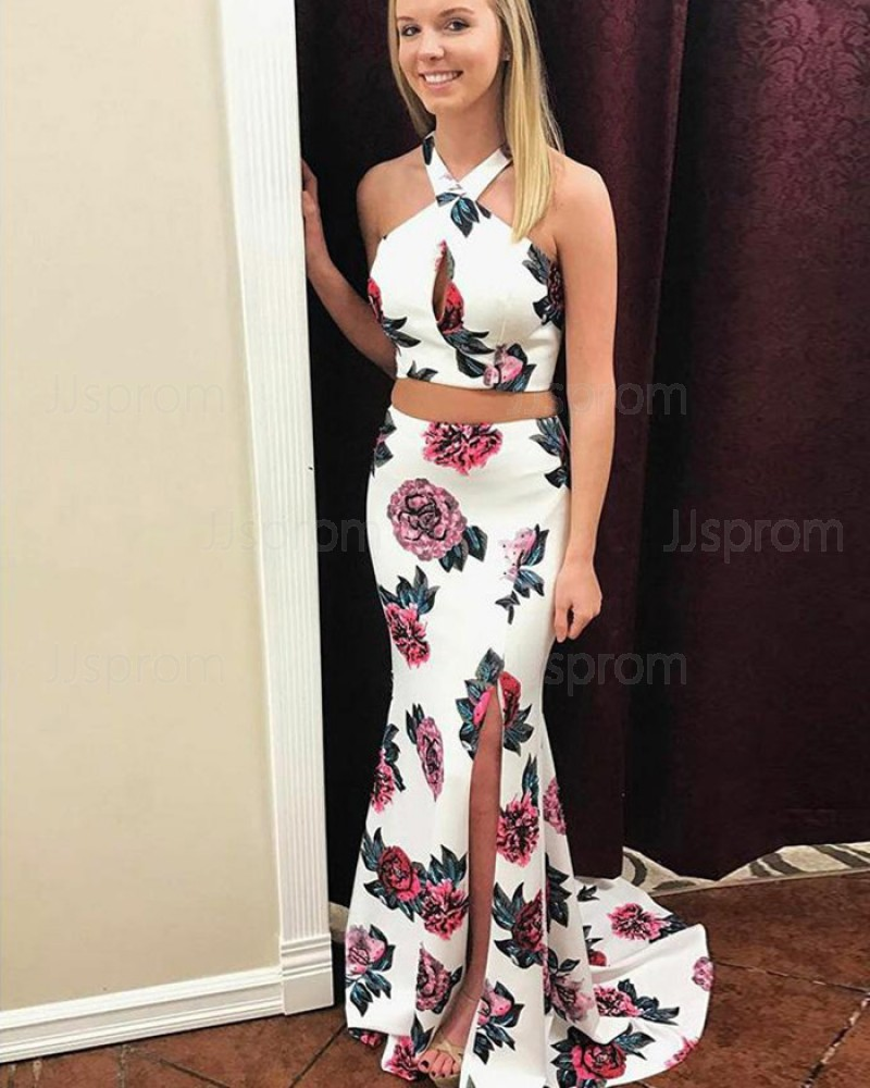 Halter Two Piece Floral Print Mermaid Prom Dress with Side Slit PM1408