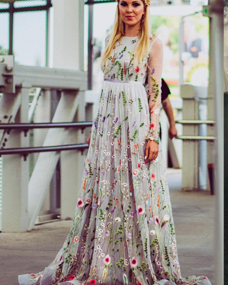 Embroidery Pleated Jewel Floral Formal Dress with Long Sleeves PM1427