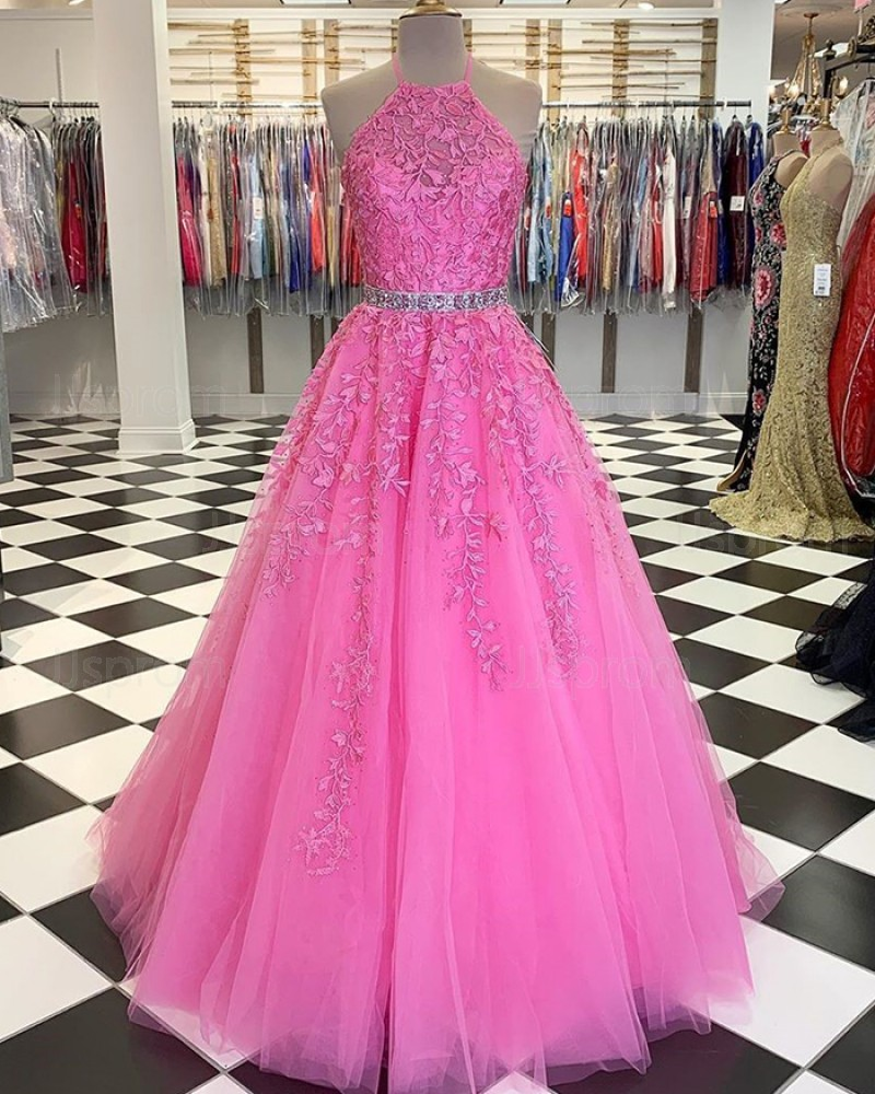 Blush Pink Halter Lace Applique Tulle Prom Dress with Beading Belt PM1805