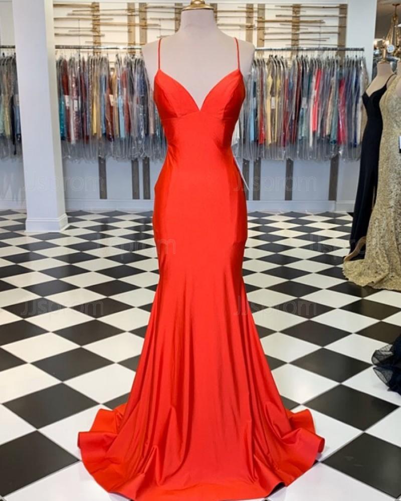 Simple Orange Spaghetti Straps Satin Mermaid Prom Dress PM1806