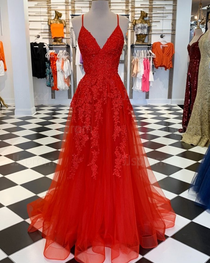 Red Spaghetti Straps Lace Appliqued Tulle Prom Dress PM1810