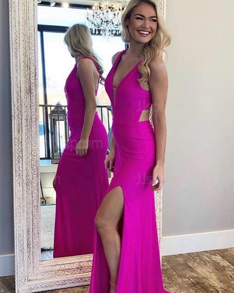 Simple Fuchsia V-neck Satin Mermaid Prom Dress with Side Slit PM1814