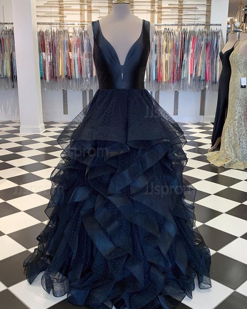 V-neck Polka Dots Black Tulle Ruffled Prom Dress PM1828