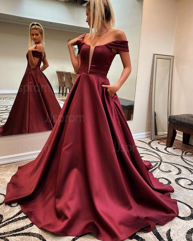Burgundy V-neck Satin A-line Prom Dress with Pockets PM1829