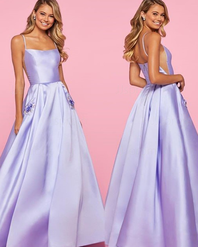Lavender Satin Spaghetti Strap Prom Dress with Beading Pockets PM1835
