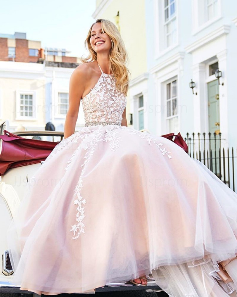 Lace Appliqued Halter Light Pink Tulle Prom Dress PM1836