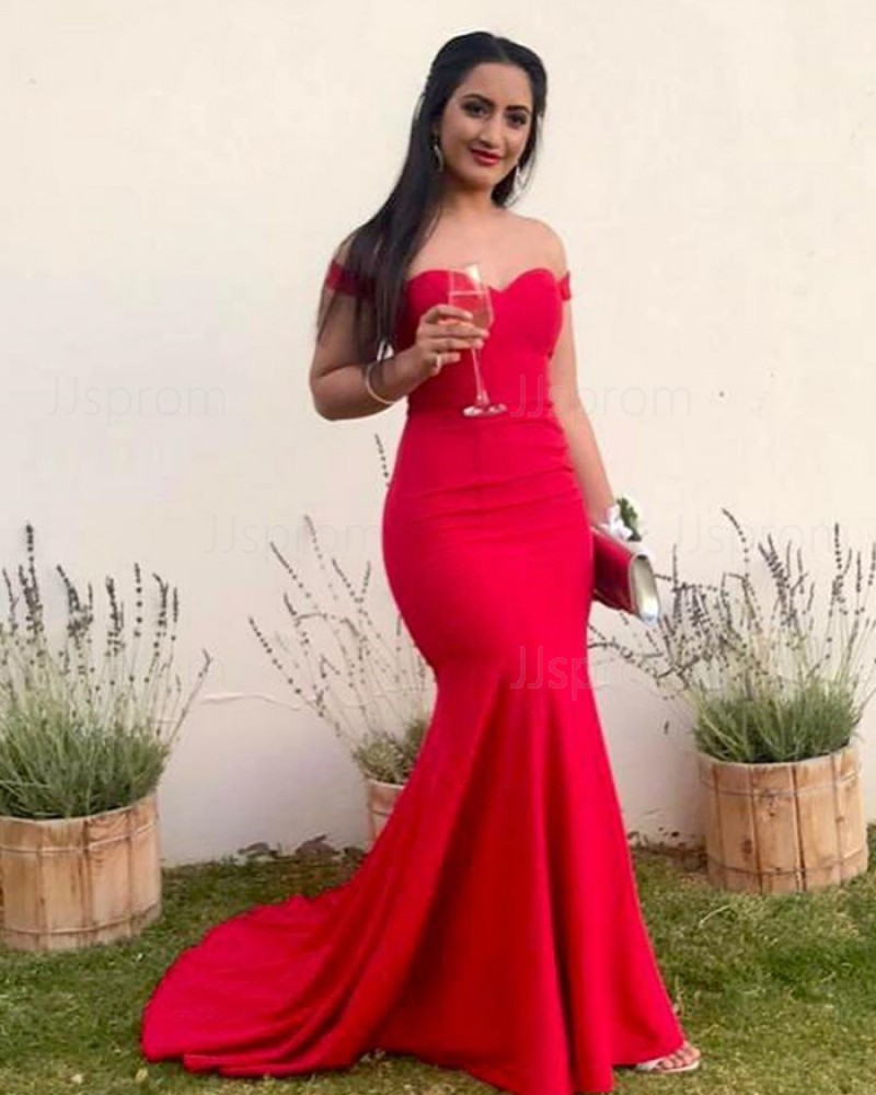 Simple Red Off the Shoulder Mermaid Prom Dress PM1840