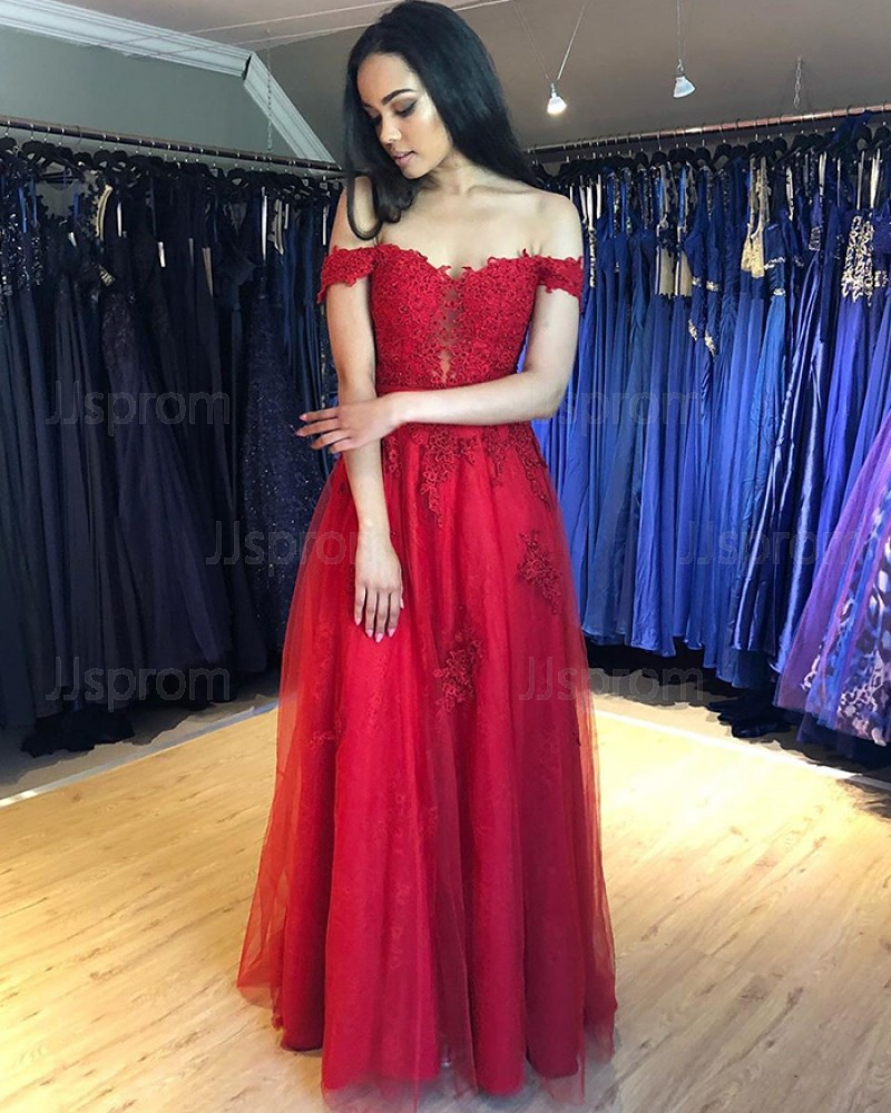 Lace Appliqued Off the Shoulder Red Prom Dress PM1844