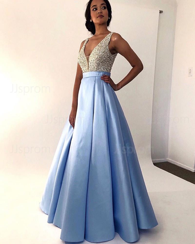 V-neck Sky Blue Beading Bodice Pleated Prom Dress PM1846