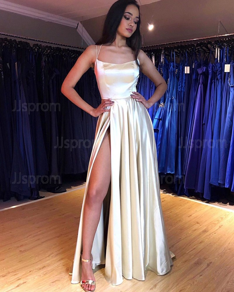 Simple White Spaghetti Straps Satin Pleated Prom Dress with Side Slit PM1849