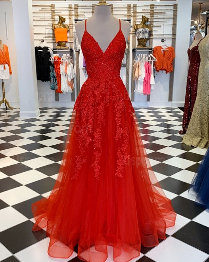 Lace Spaghetti Straps Appliqued Red Tulle Prom Dress PM1860