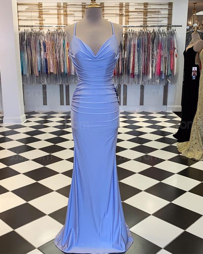 Ruched Blue Spaghetti Straps Satin Mermaid Prom Dress PM1889
