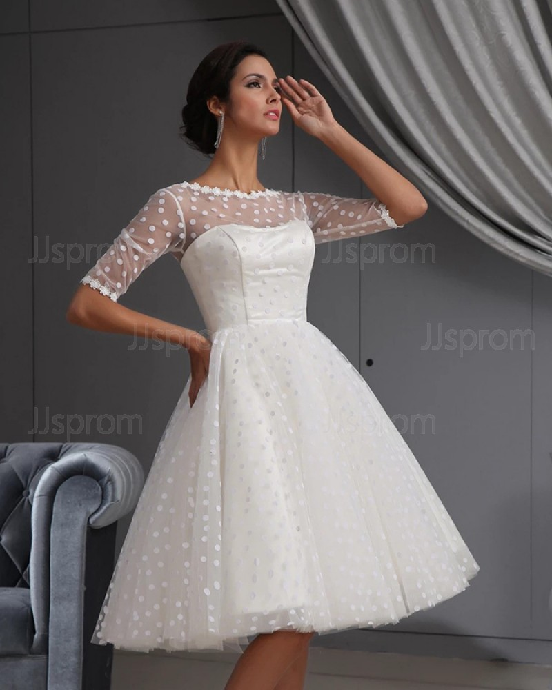 Polka Dots Jewel Neck White A-line Short Wedding Dress with Half Length Sleeves PM1891