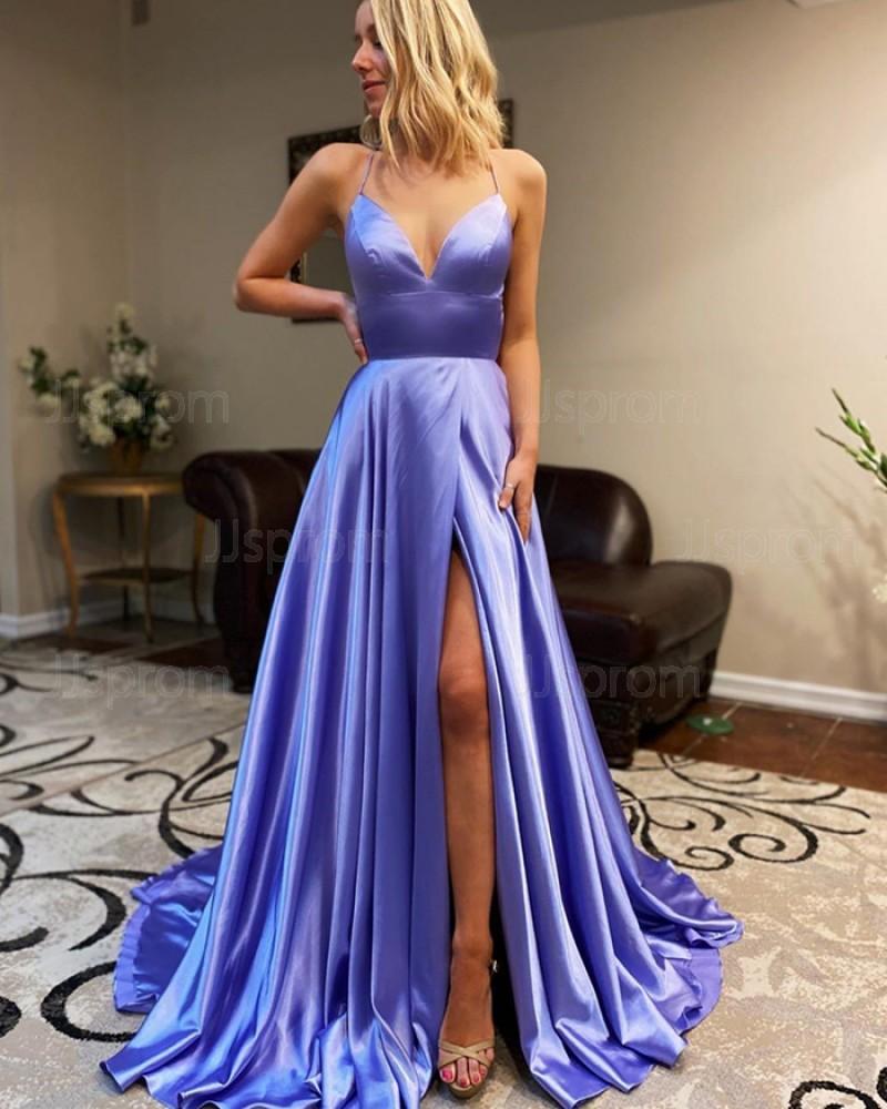 Spaghetti Straps Light Blue Satin Simple Prom Dress with Side Slit PM1911