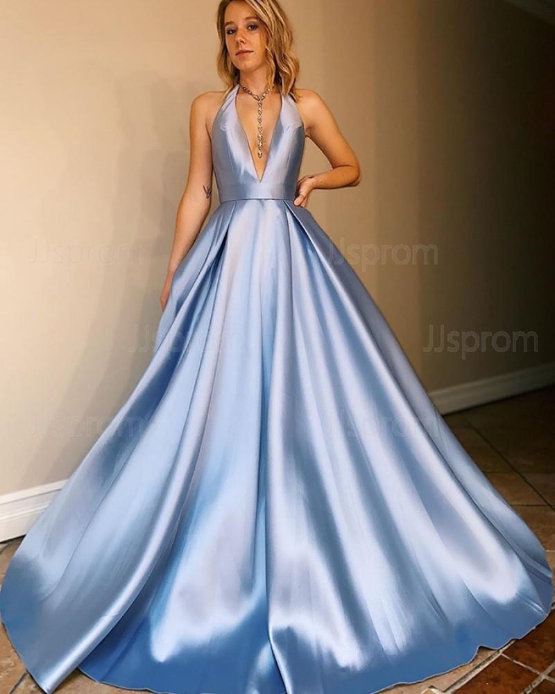 Halter Light Blue Satin Simple Prom Dress with Pockets PM1920