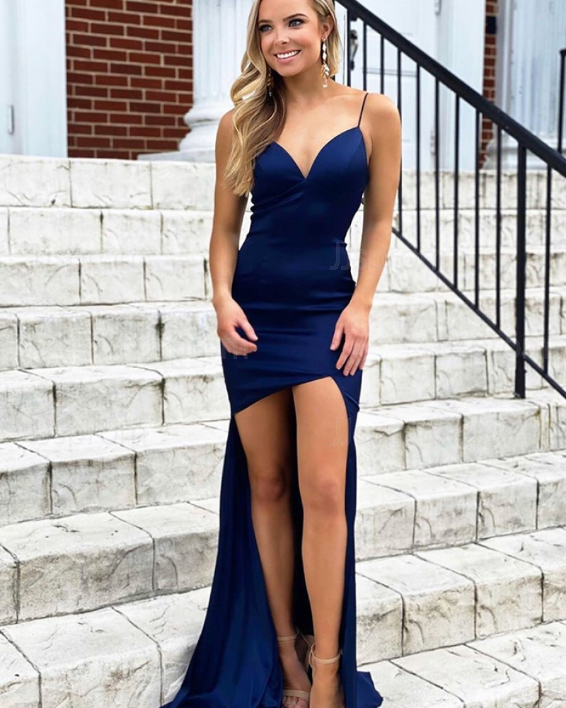 Spaghetti Straps Navy Blue High Low Mermaid Simple Prom Dress PM1922
