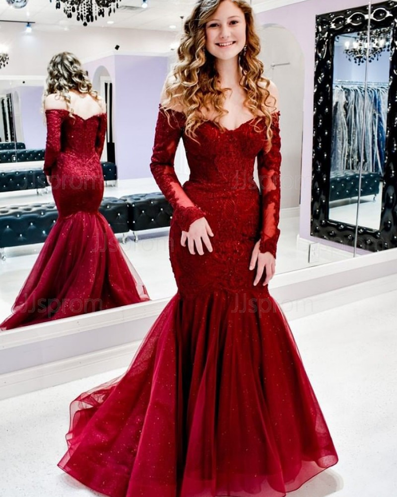 Lace Red Mermaid Off the Shoulder Prom Dress with Long Sleeves PM1937