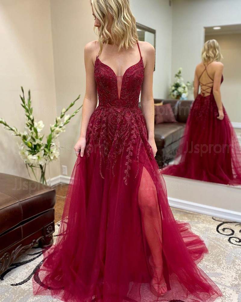 Burgundy Beading Tulle Spaghetti Straps Prom Dress with Side Slit PM1948