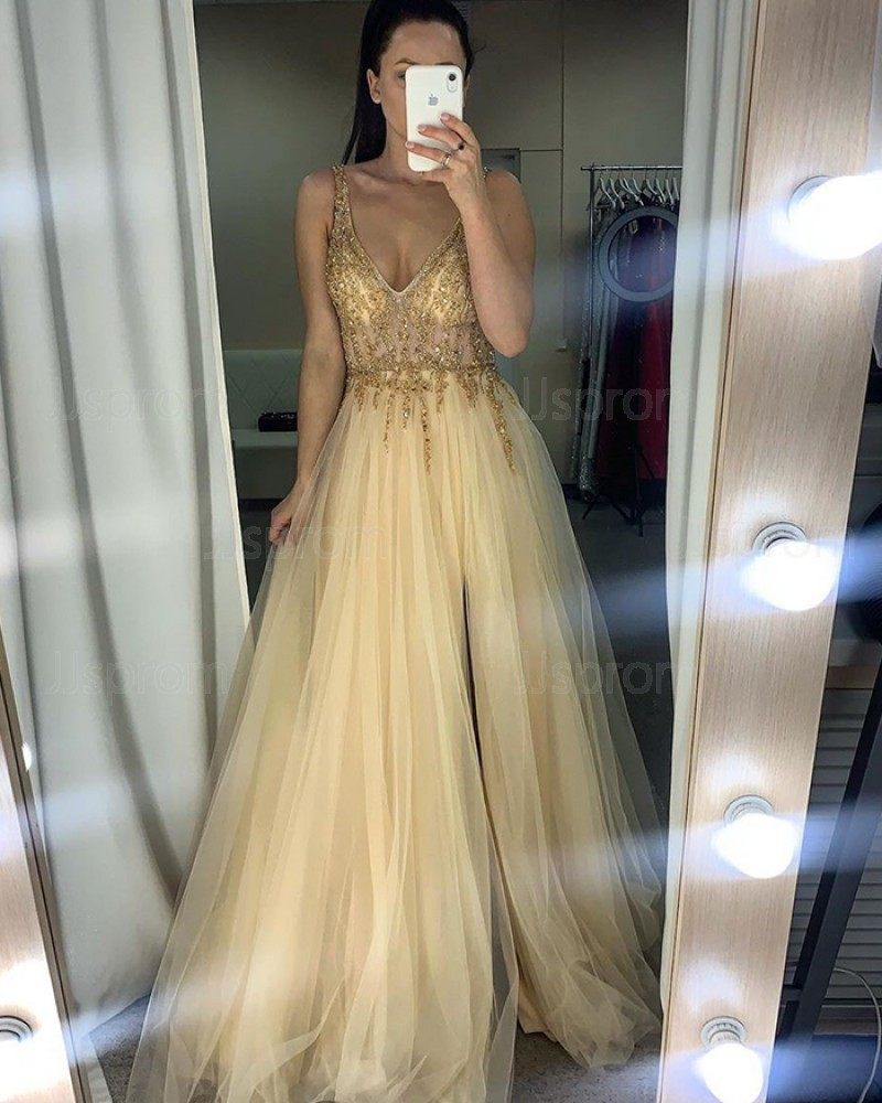 Beading Bodice Champagne Tulle V-neck Prom Dress with Side Slit PM1959