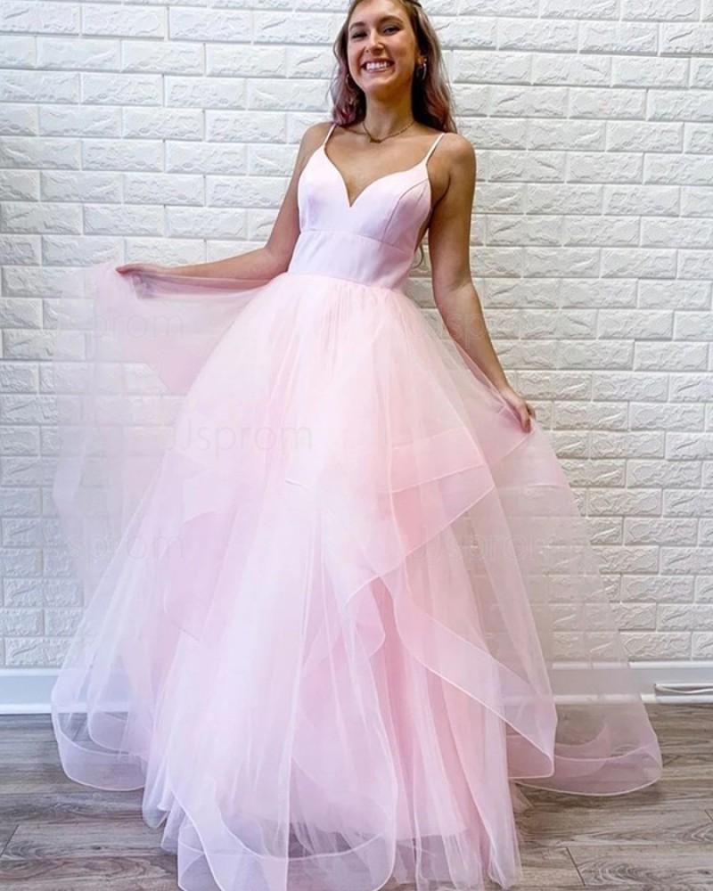 Spaghetti Straps Pearl Pink Ruffled Simple Prom Dress PM1960