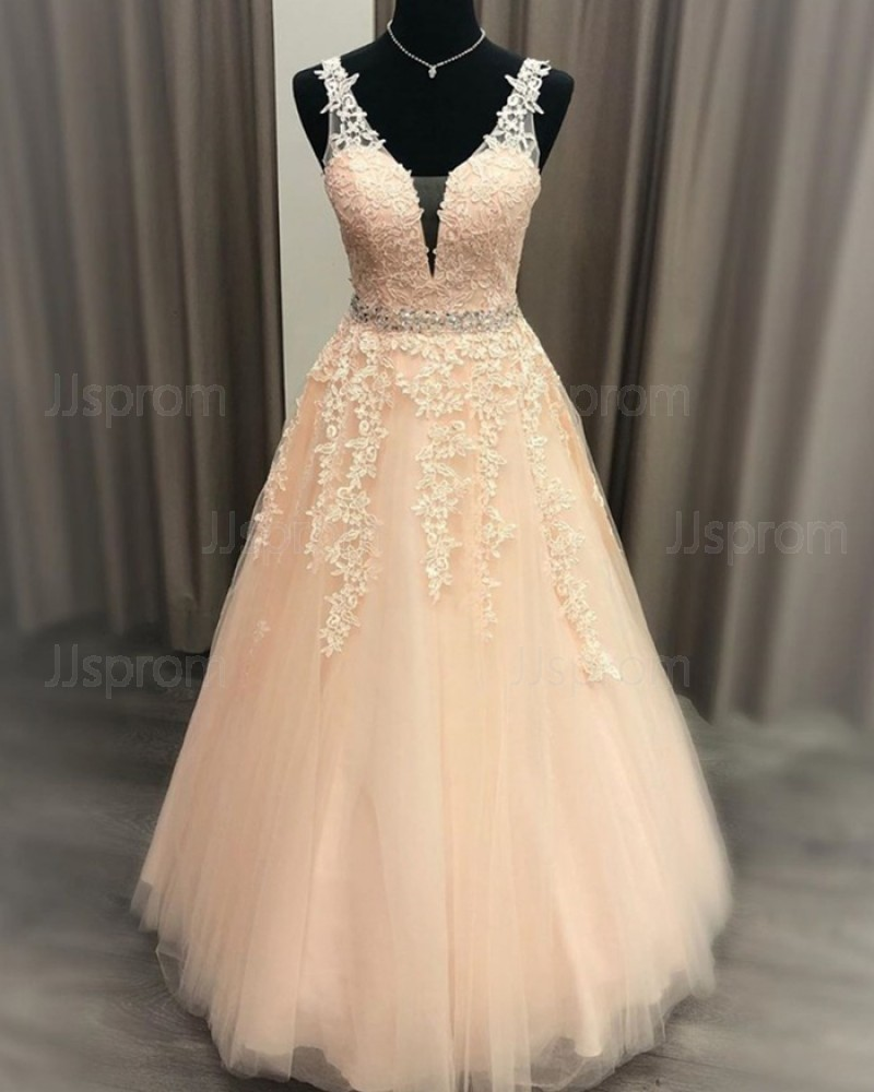 Lace Applique Pink Tulle V-neck Prom Dress with Beading Belt PM1969