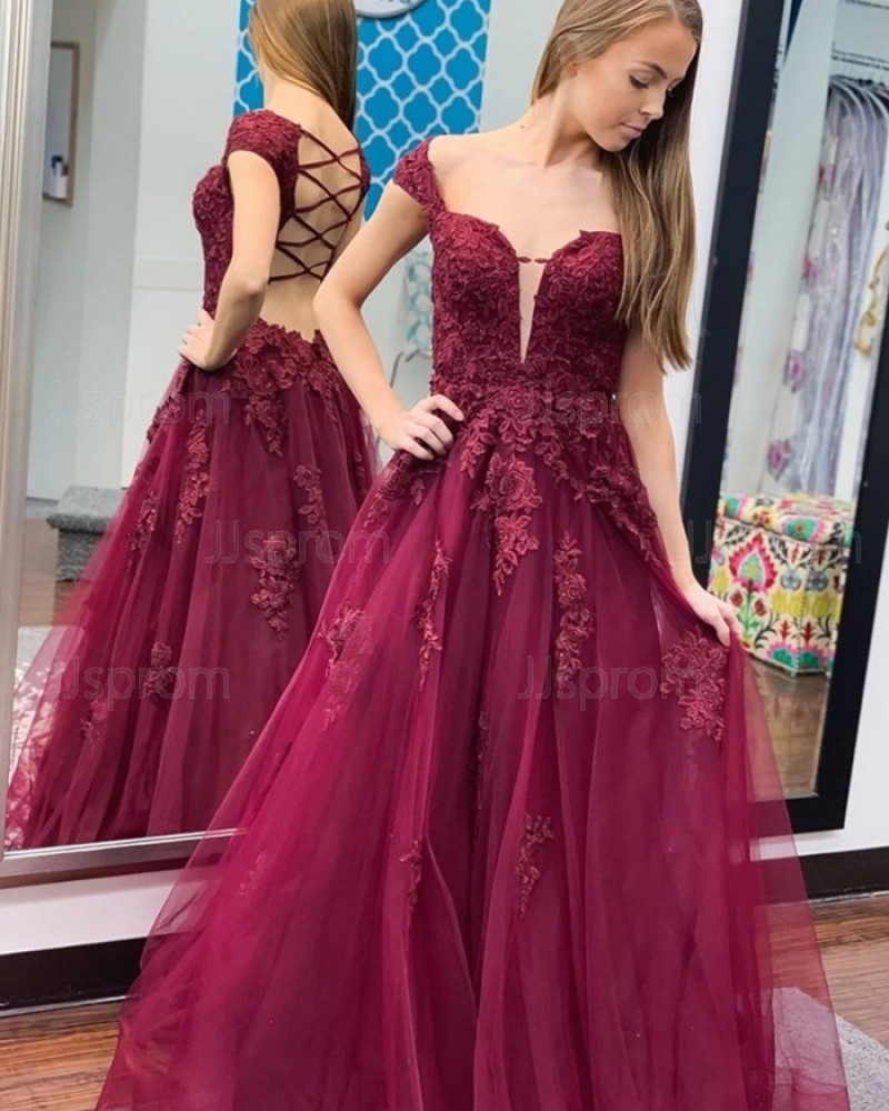 Burgundy Lace Applique Cap Sleeve Tulle Prom Dress PM1971