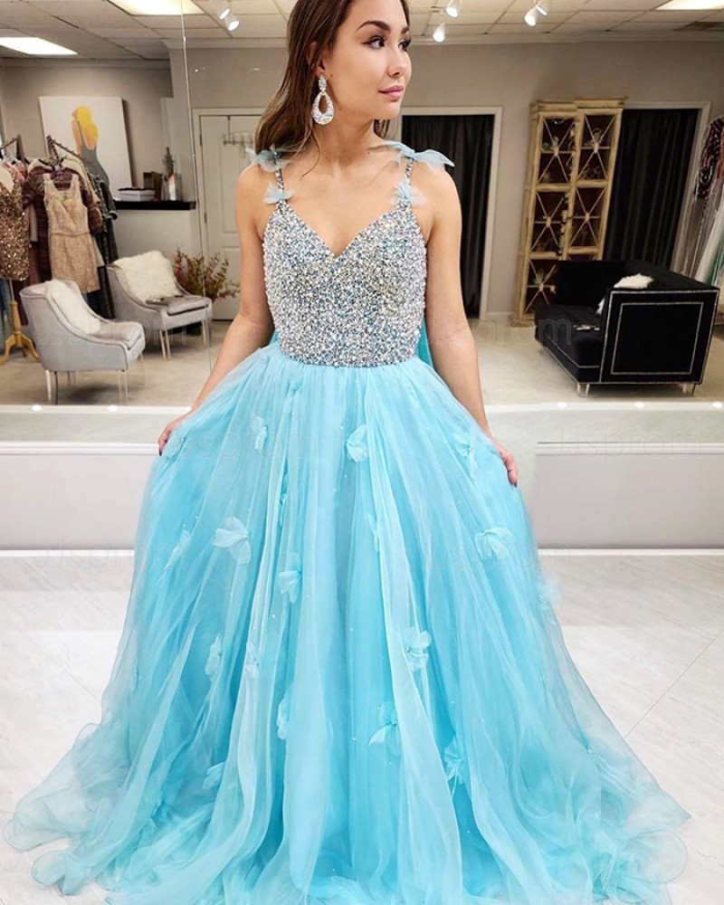 Beading Bodice Cyan Spaghetti Straps Prom Dress with 3D Flowers PM1979