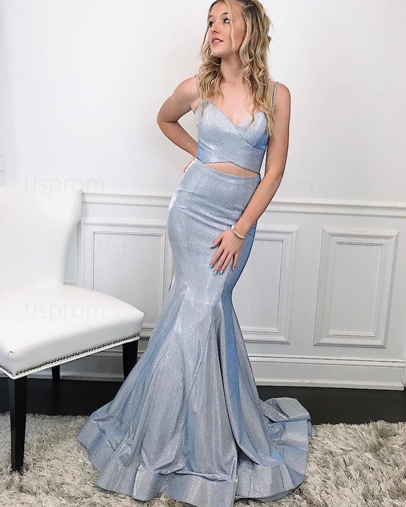 Two Piece Spaghetti Straps Silver Metal Mermaid Prom Dress PM1991