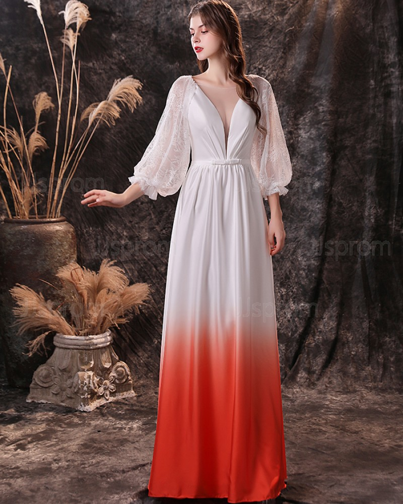 Lace Applique V-neck Satin Ombre Prom Dress with Long Sleeves QD21452