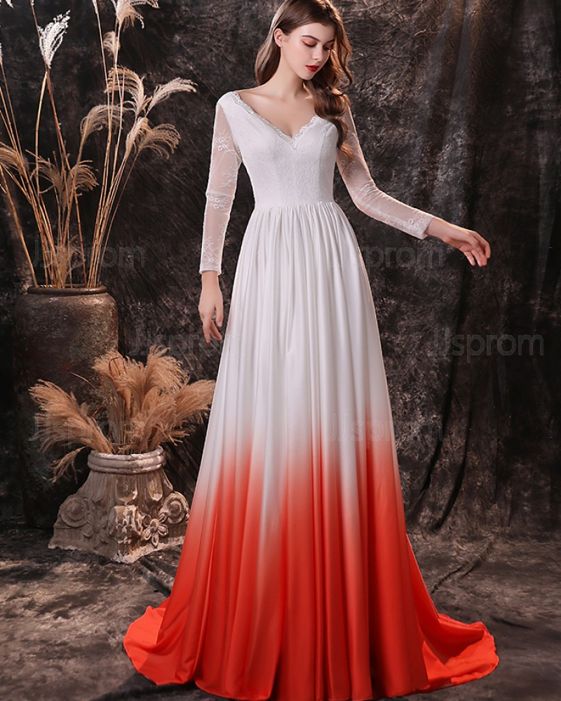 Lace Bodice V-neck Ombre Pleated Evening Dress with Long Sleeves QD24456
