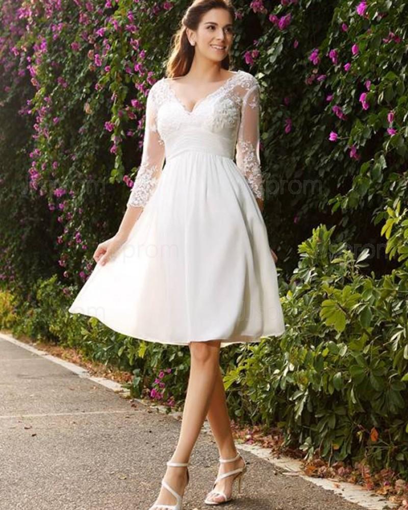 Appliqued Chiffon Short V-neck Knee Length Empire Wedding Dress with 3/4 Length Sleeves WD2006