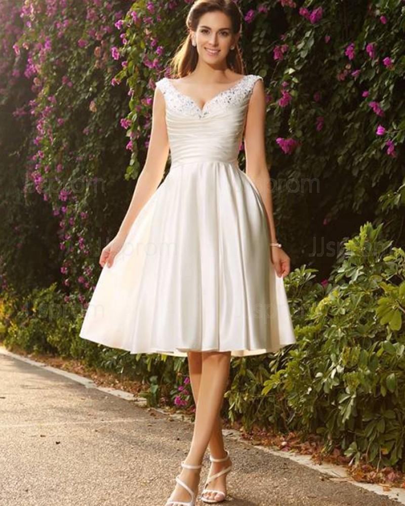 Ivory Knee Length V-neck Beading Ruched Satin Short Wedding Dress WD2016