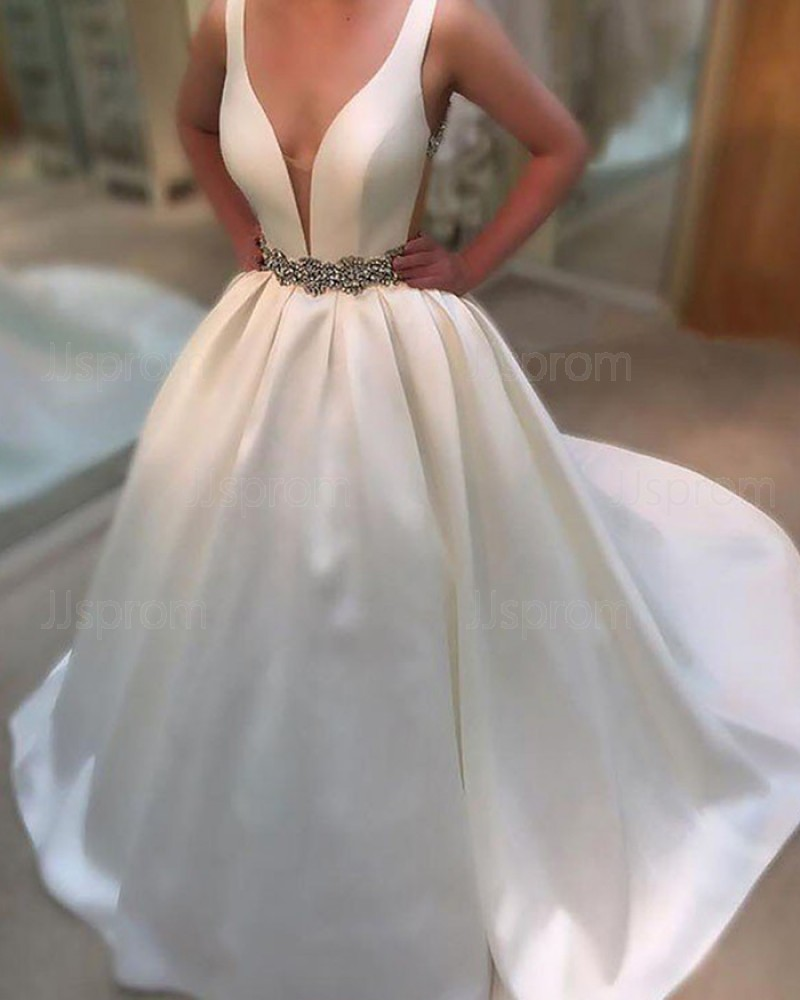 Buy Simple Deep V Neck White Wedding Gown With Belt Online At Jjsprom Com