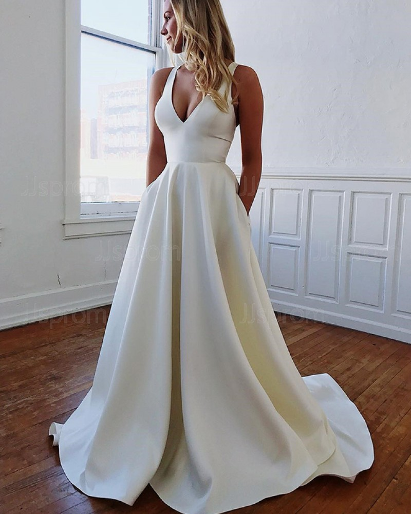 Simple Satin V-neck Pleated Fall Wedding Dress with Pockets WD2108