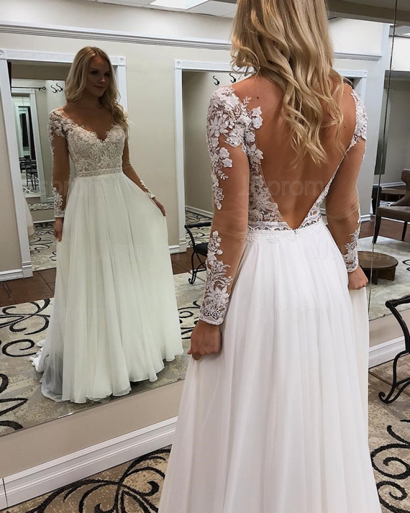 Lace Applique Bodice Sheer V-neck Pleated White Sheath Wedding Dress with Long Sleeves WD2115