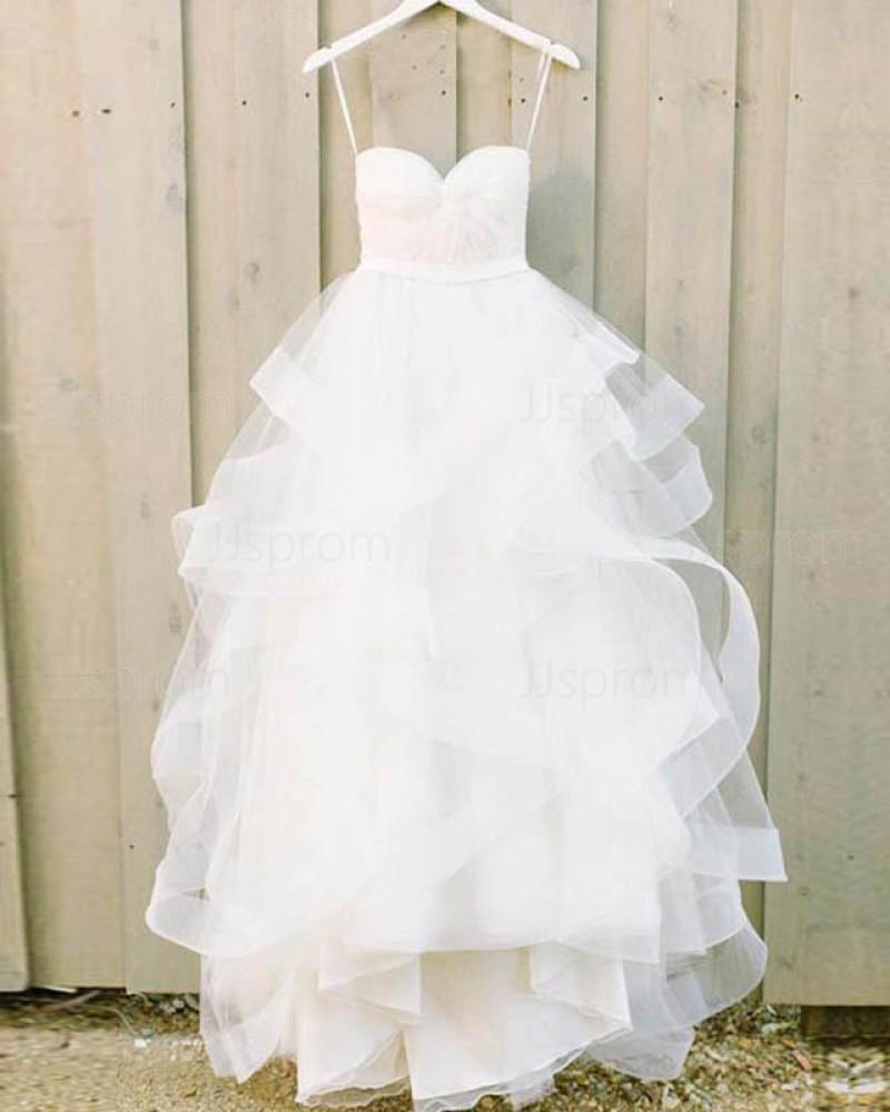 White Ruffle Spaghetti Straps Ball Gown Wedding Dress WD2132