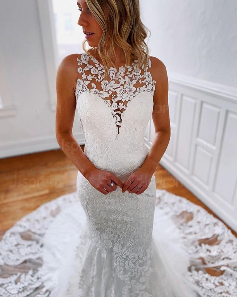 Jewel Neckline Lace Strapless Mermaid Wedding Dress WD2304