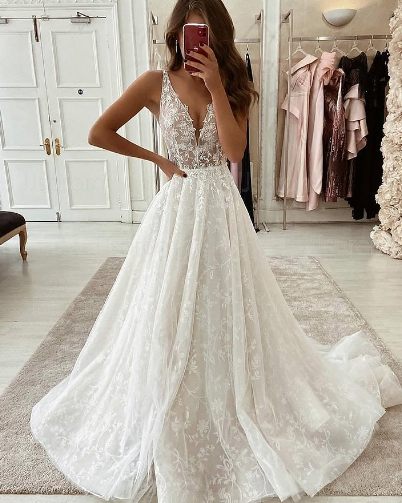 Ivory V-neck Pleated Lace Wedding Dress WD2344