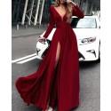 Burgundy Satin Deep V-neck Slit Prom Dress with Long Sleeves PM1385