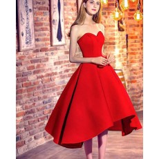 Red High Low Sweetheart Satin Formal Party Dress HD3376