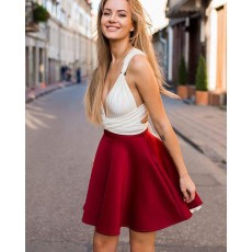 White and Red Satin Convertible Short Party Dress HD3385